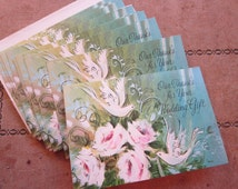10 vintage wedding gift THANK YOU cards - Rust Craft - doves, roses