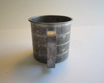 vintage measuring cup - 1 cup size - aluminum