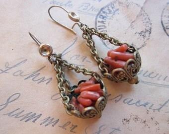 vintage earrings - branch coral in filigree baskets - chain dangle baskets - coral basket drop earrings