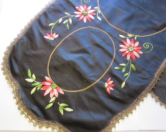 antique handmade SILK table runner with metallic lace trim - hand embroidered, black silk