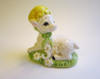 vintage Quon-quon LAMB figurine - number 3 - 3rd birthday - made in Japan, circa 1980 - as is