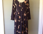 Vintage 1980s  Dress /  Shells and Roses Navy Print Dress / Button Front