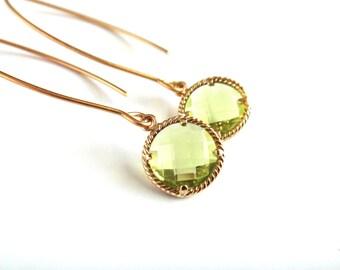 Peridot Green Earrings, Green Gemstone Earrings, Peridot Earrings, August Birthstone Earrings