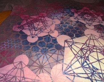 L  Metatron's Cube Mandala Hand Painted Sacred Geometry Chakra Tee w/ Flower of Life, Honeycomb