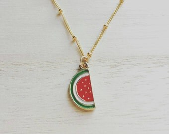 Little watermelon necklace on gold dotted satellite chain