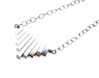 Silver Hematite Chevron Necklace-Art Deco