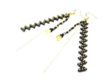Zig Zag Earrings with Citrine and Pyrite in Gold