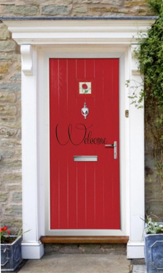Sale front door welcome vinyl lettering for Door vinyl design