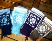 Custom Womens Wool & Baby Alpaca topless Mittens,Fingerless gloves,wool.baby alpaca.