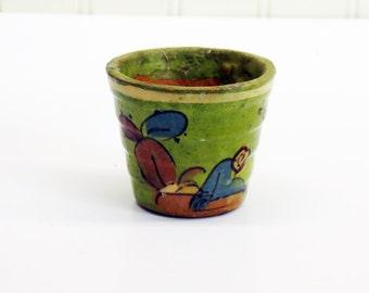 1930s Olvera Street Miniature Tlaquepaque Pottery Pot - Old Los Angeles Souenir Green Glaze Air Plant Pot