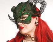 Green and black horned masquerade ball mask, unisex mask, costume, handmade mask, gothic mask, scary mask