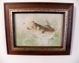 Vintage Betty Allison Big Mouth signed Print 1977, Framed Art Big Mouth Bass Print 5X7, Wood Frame Picture, Vintage Home Decor, fishing art,