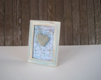 Saskatchewan Map with Heart Stone - Mixed Media Collage- Altered Map Art -