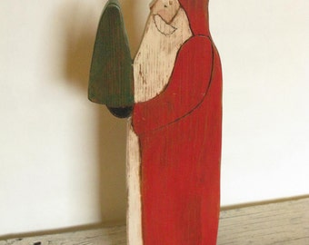 Folk Art Wooden Santa Cutout