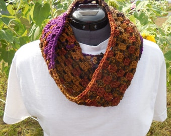 Cowl Scarf for Women Brown Rust Tan and Purple Crochet Loop/Neck Warmer Scarf/ Textured Granny Cluster