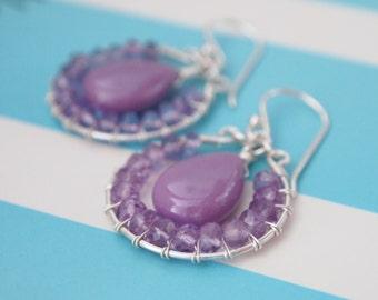 Rare Lalic Phosphosiderite Lavender Pink Amethyst Sterling Silver Earring Hoops