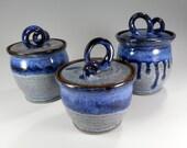 Kitchen canister storage jars, small ceramic canisters, pottery lidded jars, ceramic kitchen storage, jars with lid indigo blue set of 3