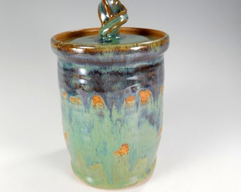 Ceramic canister jar - pottery sugar jar - stoneware jar with lid - ceramic canister jar - pottery kitchen storage jar green and brown glaze