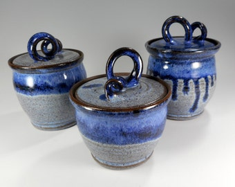 Kitchen canister storage jars, small ceramic canisters, pottery lidded jars, ceramic kitchen storage, jars with lid indigo blue set of 3