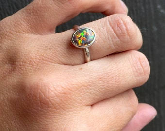 Fiery Multicolored Oval Mexican Opal Sterling Silver Ring