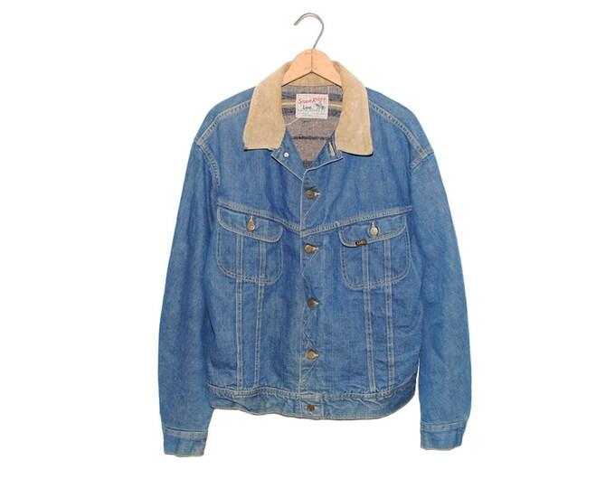 Vintage Lee Storm Rider Blanket Lined Jean Jacket Denim Union Made in USA - 48 Long (OS-DJ-12)