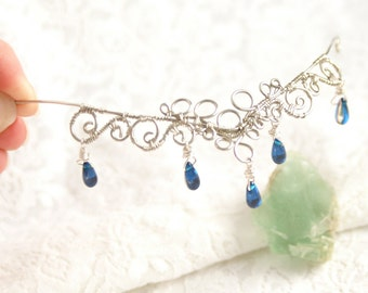 Elven crown tiara with spirals and deep blue Czech glass beads.