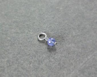 Tiny Tanzanite Pendant, Sterling Silver Wire Wrapped Gemstone Charm - Add a Dangle