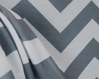 Grey Chevron Sheer Fabric