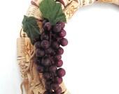 Elegant Simplicity Wine Cork Wreath,Wall Art or Door Hang Grape and Twine Accents