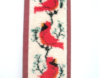 Vintage Framed Hand Made Hook Rug Birds Cardinals