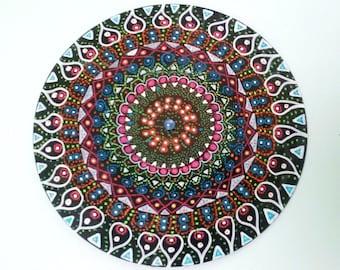 Handpainted Repurposed Vinyl Record Mandala Meditative Wall Art