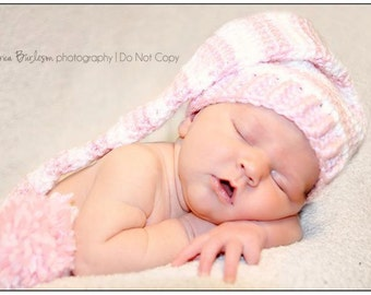 Made to order crochet newborn pixie hat: pink and white, twins,photo prop