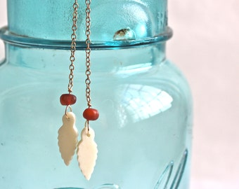 White Leaf Charm Earrings / Handmade Earrings / Long Gold Dangles / Chain Earrings / Leaf Earrings / Long Dangle Earrings / Gold Earrings