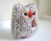 House Warming Hoot Owl, Hand Knit Plush Wool and Mohair Animal, Woodland Home