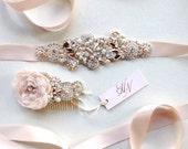 Rose Gold Crystal Bridal Belt- SWAROVSKI- Rhinestone, Sequin and Pearl Bridal Sash