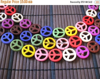 20% OFF ON SALE Multi Color Howlite Peace Sign 20mm Beads