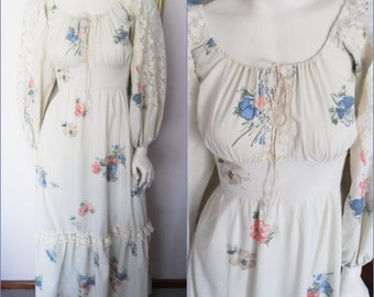 Vtg.60/70s Cream Lace Floral Billowy Sleeve Hippie Maxi Dress.S.Bust 36.Waist 28.