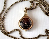 "Soviet Watch Ladies ""slava"" Pendant With Chain - Working - Gold Plated - Machined Pattern - 1980s - from Russia / Soviet Union / USSR"