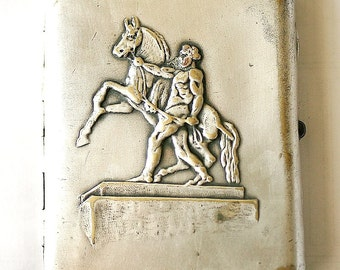 Cigarette Case Business Card Holder Silver Plated Brass 1940s Military Warrior and a Horse from Soviet Union USSR