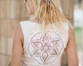 Cream Tank Top with upcycled vintage crochet back - Size L