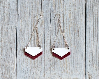 Dark red and white Geometric Leather Earrings