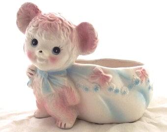 Pink Teddy Bear Planter, Vintage Ceramic Flower Pot (G3)