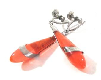 Orange Teardrop Earrings, Vintage Screw Post Style Clip On Earrings (H4)