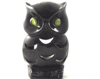 Marble Eye Owl Vintage Candle Lantern, Brown Pottery Candle Holder with Yellow Marble Eyes (G3)