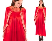 CLEO 70s Bright Red Silky Sleek Gold Embroidery Embroidered Egyptian Goddess Toga Maxi Gown Dress Retro M