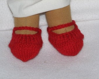"Doll Shoes for 10"" to 20"" Doll - Knit in Any Color - MADE to ORDER for feet with toes"