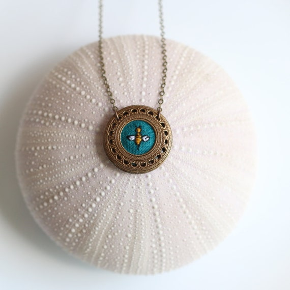 Bumblebee- hand embroidered necklace, insect, bee, teal, entymology
