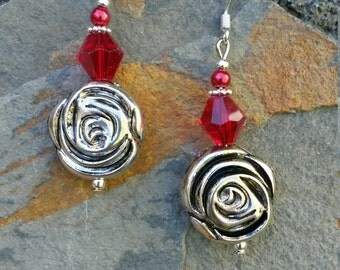 Red Rose Earrings, Red Crystal Flower Sterling Silver Dangle Earrings, Flower Red Sterling Silver Dangle Earrings, Flower Earrings
