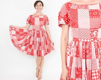 40s Red Cotton Dress | Red White Print Full Skirt Day Dress | Small