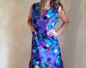 vintage plus size 60s dress / mod hippie/ purple blue / graphic print / shift dress/ psychedelic / size xl /plus figure
